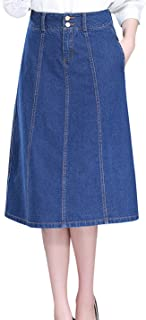 Tanming Women's High Waist A-Line Long Midi Denim Jean Skirt