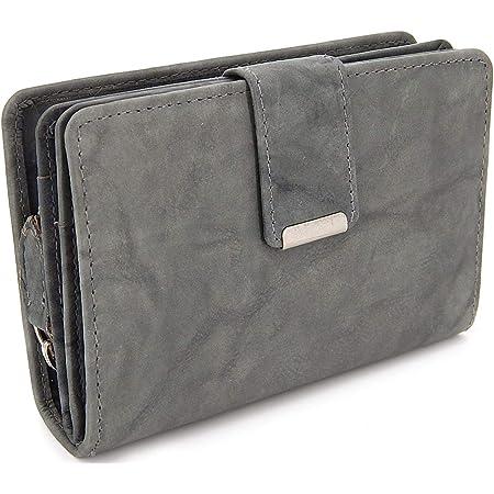 Damen Geldbörse aus weichem Leder mit RFID-Schutz - Damen-Portemonnaie (Grau)