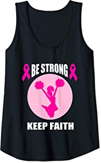 Womens Pink Ribbon Gift for Women Mom Cheerleader Breast Cancer Tank Top