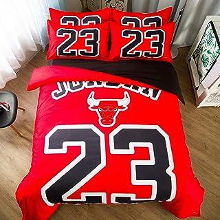 SLAYY Drap-Housse 23# Jordan À Poche Extra Profonde, Drap-Housse 4 PC, Draps Simples À Poches Très Profondes, s'adapte À U...