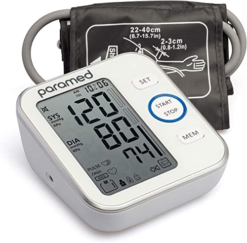 Blood Pressure Monitor by Paramed: Accurate Automatic Upper Arm Bp Machine & Pulse Rate Monitoring Meter with Cuff 22...