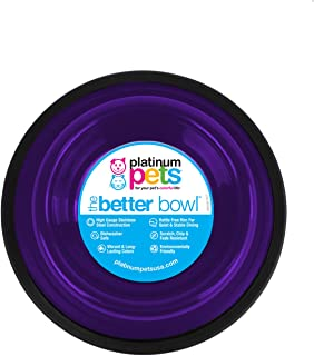 Platinum Pets Non-Embossed Non-Tip Stainless Steel Cat/Dog Bowl, Small, Electric Purple