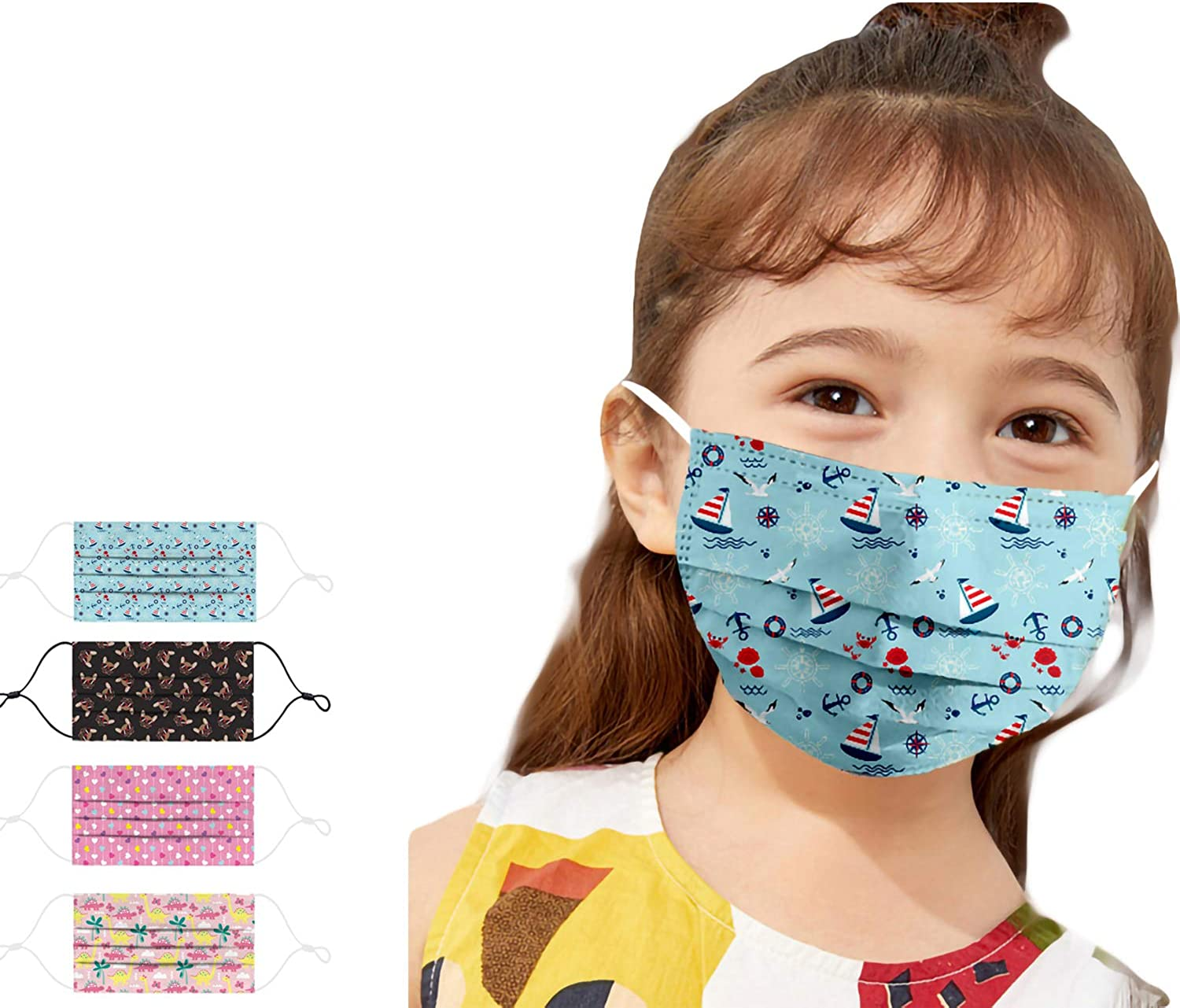 Kaideny 5 Pack Kids Adjustable Washable Reusable Face Protective Bandanas Childrens Boys Girls Travel Indoor Outdoor School