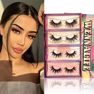 Sponsored Ad - 3D Mink Lashes, Mink Eyelashes Natural Look Wennalife 20mm 4 Pairs 2 Styles Luxury Siberian Mink Lashes for...