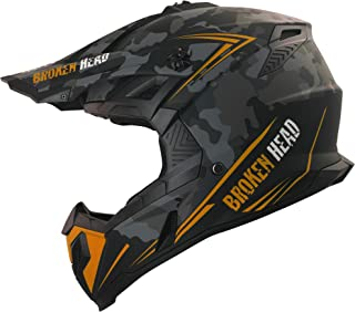 Broken Head Squadron Rebelution Camouflage Grau Orange - MX Motocross Helm - Quad-Helm - Sumo-Helm M 57-58 cm
