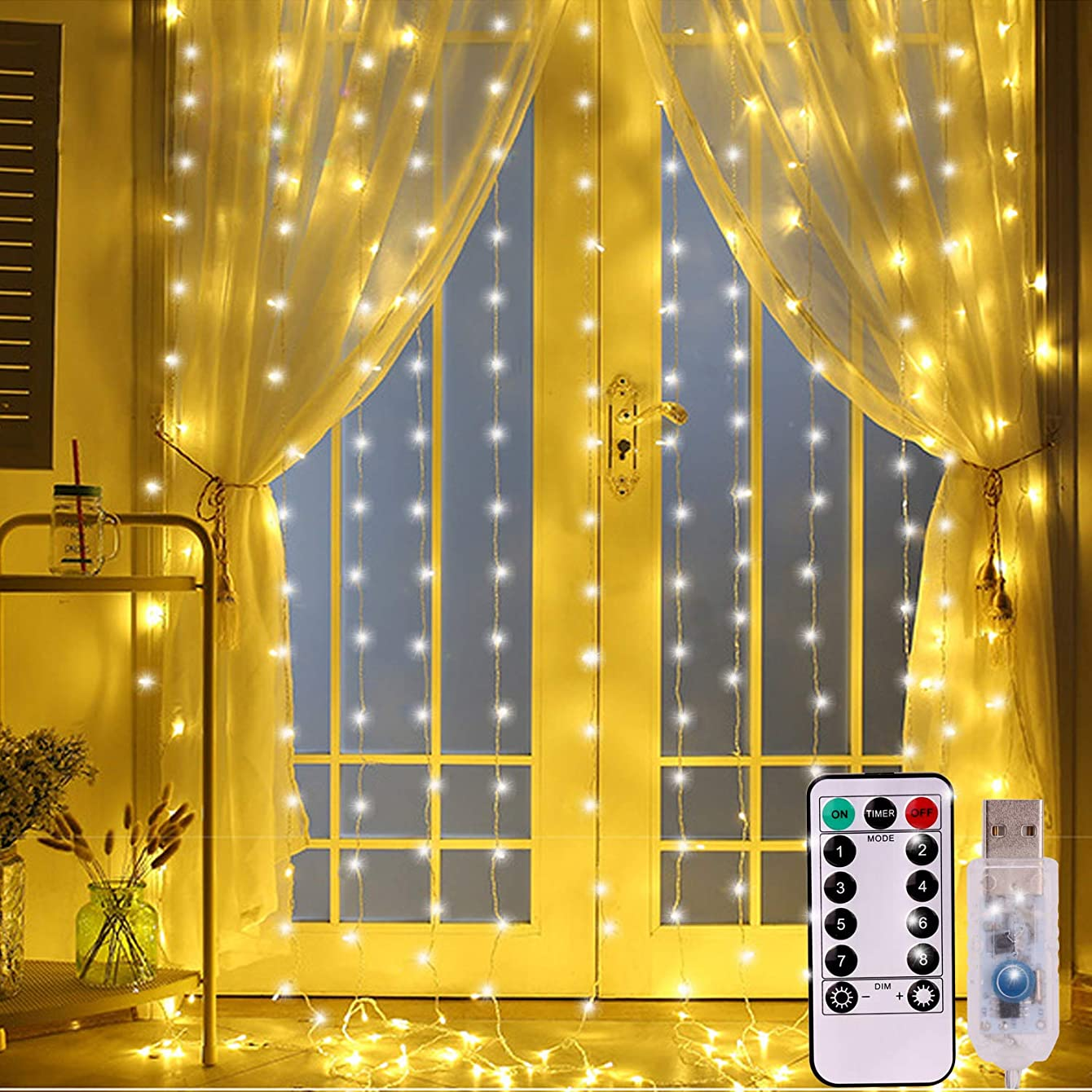 MYbarley 300 LED Window Curtain String Lighting USB Powered 8 Modes Timer 9.8ftx9.8ft Waterproof Icicle Lights String with Remote for Wedding Party Bedroom Wall Holiday Outdoor Indoor Decorations