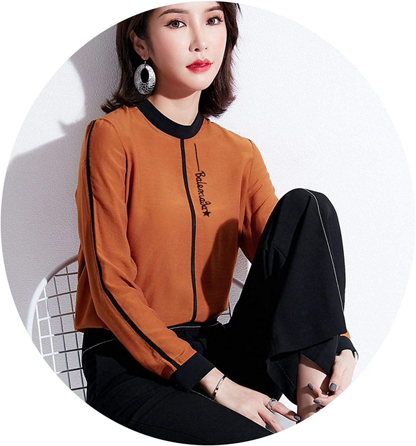 Aowoey Spring New Women's Wild Hit color Letters Embroidery LongSleeved Shirt Women