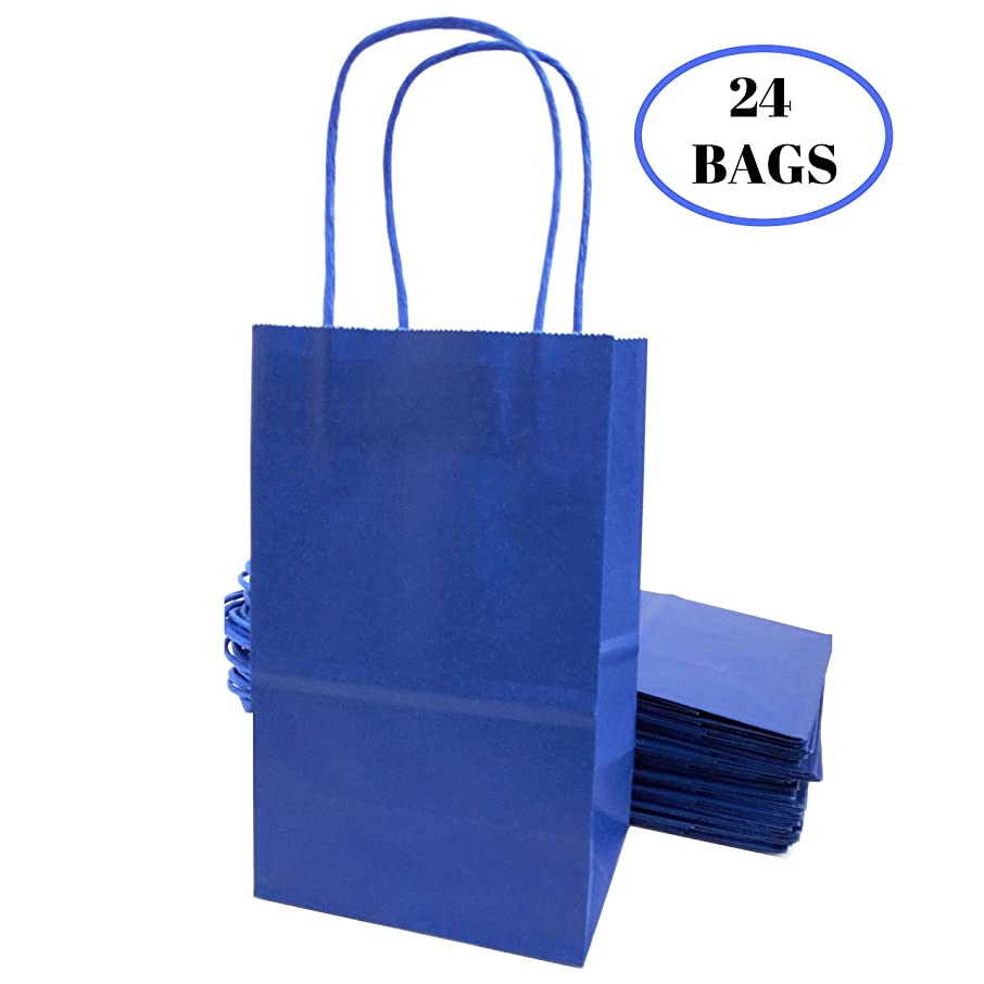 """Kelkaa Party Kraft Paper Bags – 24pcs 5.25X3.5X8.5"""" Gift Bags with Handles for Birthday, Wedding Party Favors, Bachelorette Party, Paper Tote Bags, Party Themes – Small Royal Blue"""