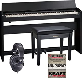 Roland F-140R Digital Piano - Contemporary Black with Bench, Headphones, and Lesson Book