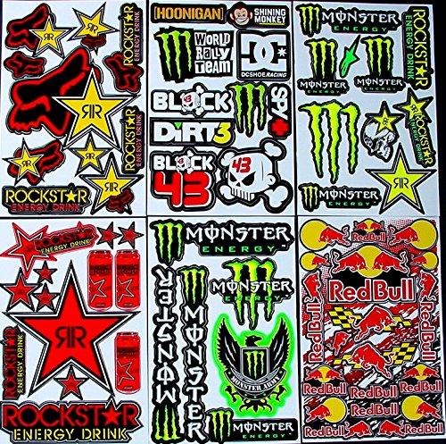 6 bogen Aufkleber ttt selbstklebend Stickers rockstar energy drink BMX moto-cross decals Abziehbilder MX