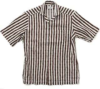 BAGUTTA バグッタ メンズ シャツ オープンカラー 半袖 シアサッカー プリント ストライプ リネン MAUI