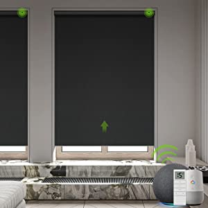 Yoolax Motorized Smart Blind for Window with Remote, Automatic Blackout Roller Shade Work with Alexa Google Home, Electric Solar Blind Customize for Sliding Door, Living Room (Fabric-Black)