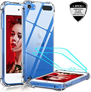 iPod Touch 7 Case, iPod Touch 6 Case, iPod Touch 5 Case with Tempered Glass Screen Protector [2 Pack], LeYi Shockproof Crystal Clear Soft Bumper Hard Case for Apple iPod Touch 7th/ 6th/ 5th Generation