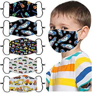 WowTowel Children's Face_Mask, Adjustable Reusable Printed Dust_Mask, Kids Washable Reusable Face Coverings for Outdoor Sport