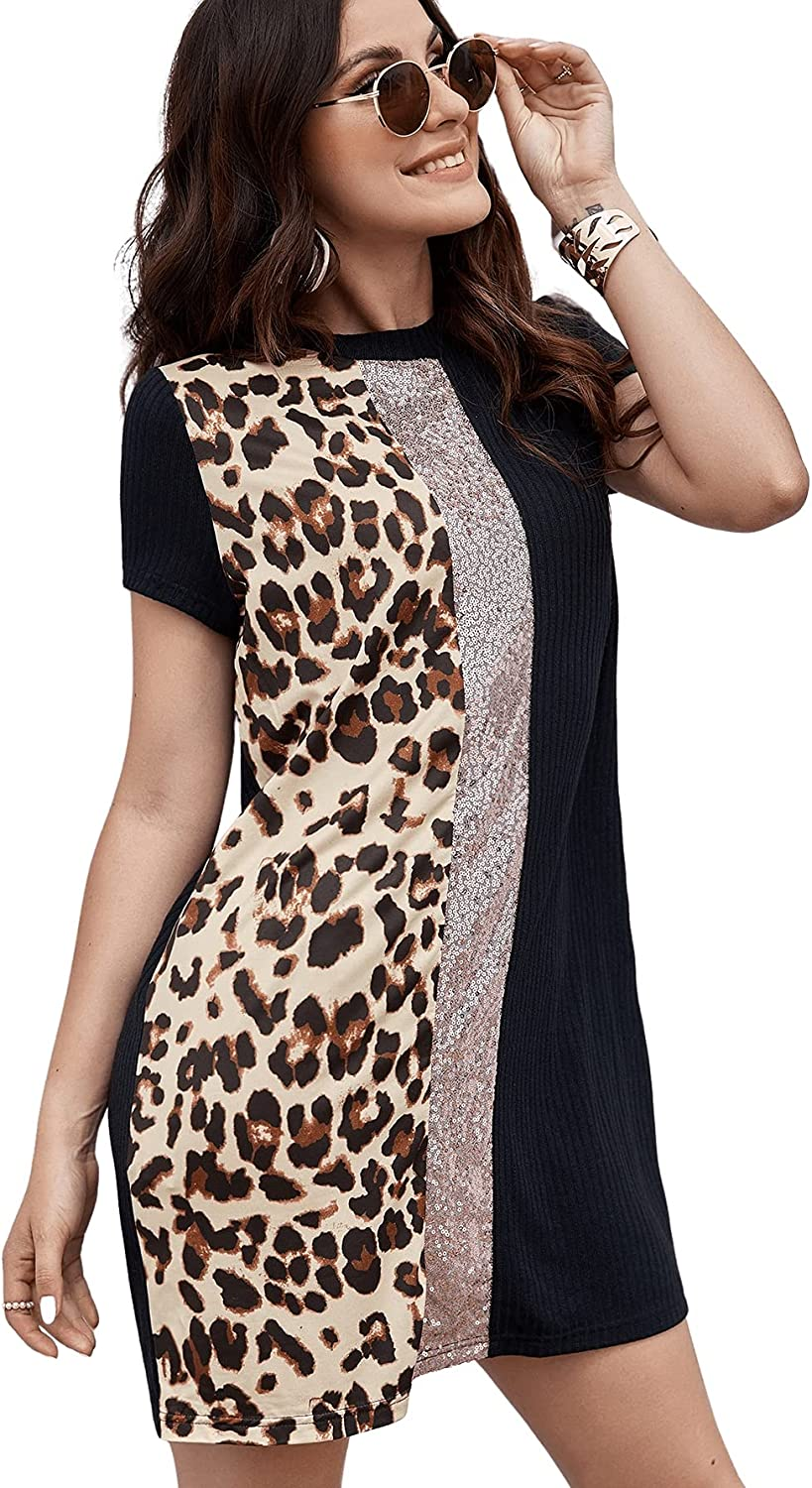Floerns Women's online shopping Short Sleeve Discount mail order Color Tunic Leopard Dre Print Block