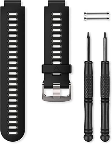 Garmin - Bracelet de Rechange pour Montres Forerunner 735XT - Silicone - Noir/Gris