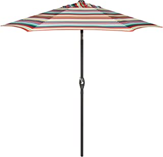 7.5 Foot Crank and Tilt Market Umbrella (Red/Blue/Green/Yellow Striped)