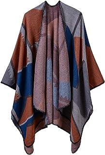 YianBestja Poncho Cape Donna Knitted Mantelle Casual Autunno Inverno Reversibile Cachemire Poncho Mantellina Scialle Sciarpe
