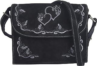 DOMELO klein Trachtentasche Leder Umhängetasche Damen Oktoberfest Tasche Dirndltasche Handtasche Crossbody Bag Schultertasche Ledertasche Wiesn Accessoires Frauen Taschen Geschenke Herz 91304
