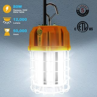 Hanging Work Light 80W LED Temporary Jobsite Light with Stainless Steel Guard & Hook Supersede 250W/300W/350W Metal Halide Low Bay Workshop Construction Barn Garage Lighting