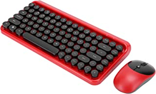 Wireless Keyboard Mouse Set Punk Retro Dot Keyboard Universal Computer Accessory for Computer Laptop PC(red)