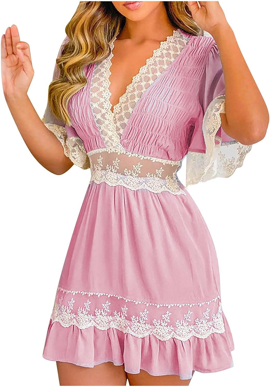 LIULIU Womens Summer Dresses Vneck Short Sleeve Ruffles Crochet Lace Splicing Solid Skirt Fashion Elegant Casual Flowy Dress