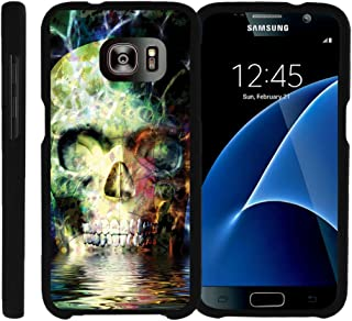 MINITURTLE Compatible with Samsung Galaxy S7 Case, Snap on Hard Cell Cover Intense Skull Design Case Colorful Water Skull