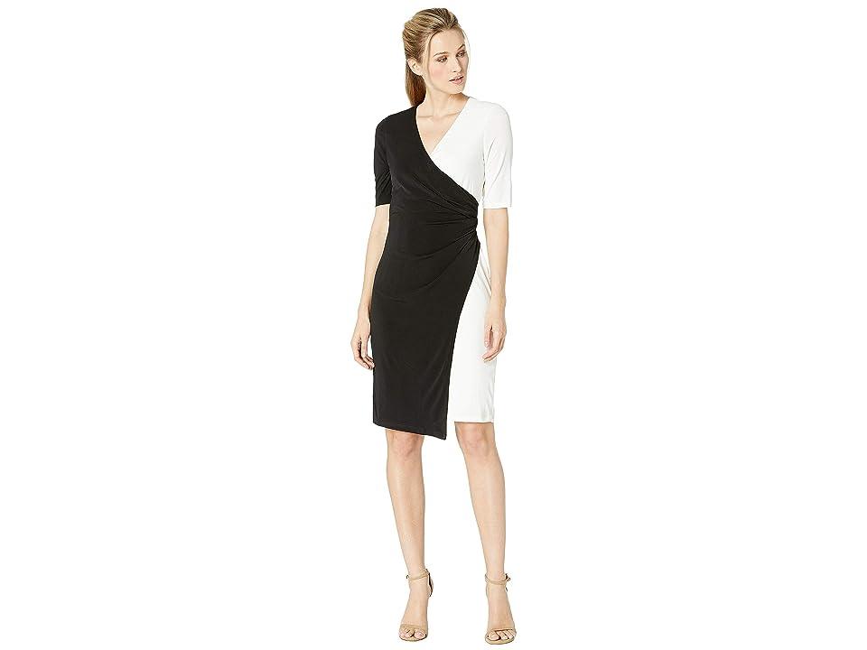 London Times Color Block Wrap Dress (Black/Soft White) Women