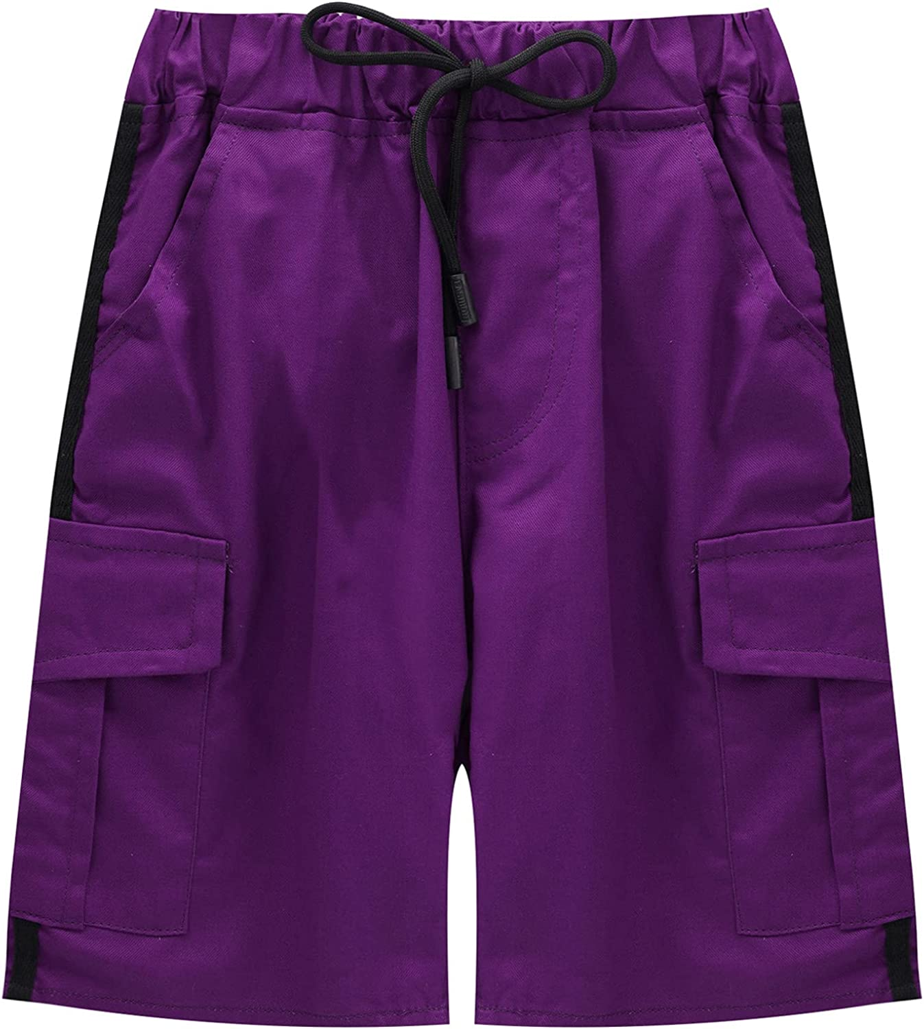 Freebily Boys' Stretchy Drawstring Sports Shorts with Pockets Athletic Exercise Gym Shorts for Summer Casual Daily Wear