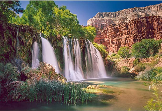 CdHBH 10x8ft Beautiful Landscape Backdrop Gorge Mountain Waterfall Vinyl Photography Background Attraction for Vacation Holiday Video Display TV Film Production Photo Booth Prop