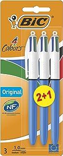 BIC 4 Colours Original Retractable Ballpoint Pens Medium Point (1.0 mm) - Pack of 2+1
