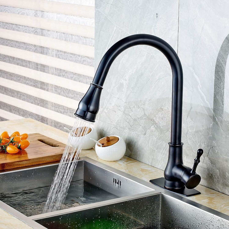 KLYBFN Ziehen Sie l Eingeriebener Bronze-Küchenhahn-Schwenker-Auslauf-Wannenmischer Mit Platte Heraus
