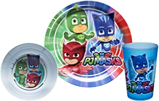 Zak Designs PJ Masks Kids Dinnerware Set Includes Plate, Bowl, and Tumbler, Made of Durable Material and Perfect for Kids (Gekko & Catboy & Owlette, 3 Piece Set, BPA-Free)