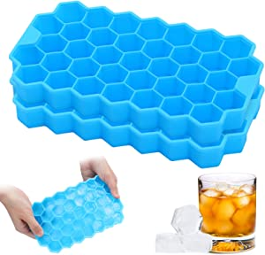 2 Pack Ice Cube Trays, Silicone Ice Cube Trays Molds, Easy Release Reusable Molds Maker, Ideal For Beverages, Whiskey & Cocktails, Juice, Safe, BPA-Free (Blue)