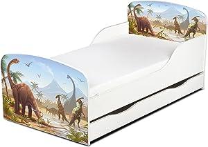 Cama Infantil de Madera 140/70 Cama Para Niños Muebles Para Niños Marco de Cama Colchón y Cajón Cómodo Alta Validad Vuarto de Niños  Dormitorio Impresa Dinosaurios Jurassic