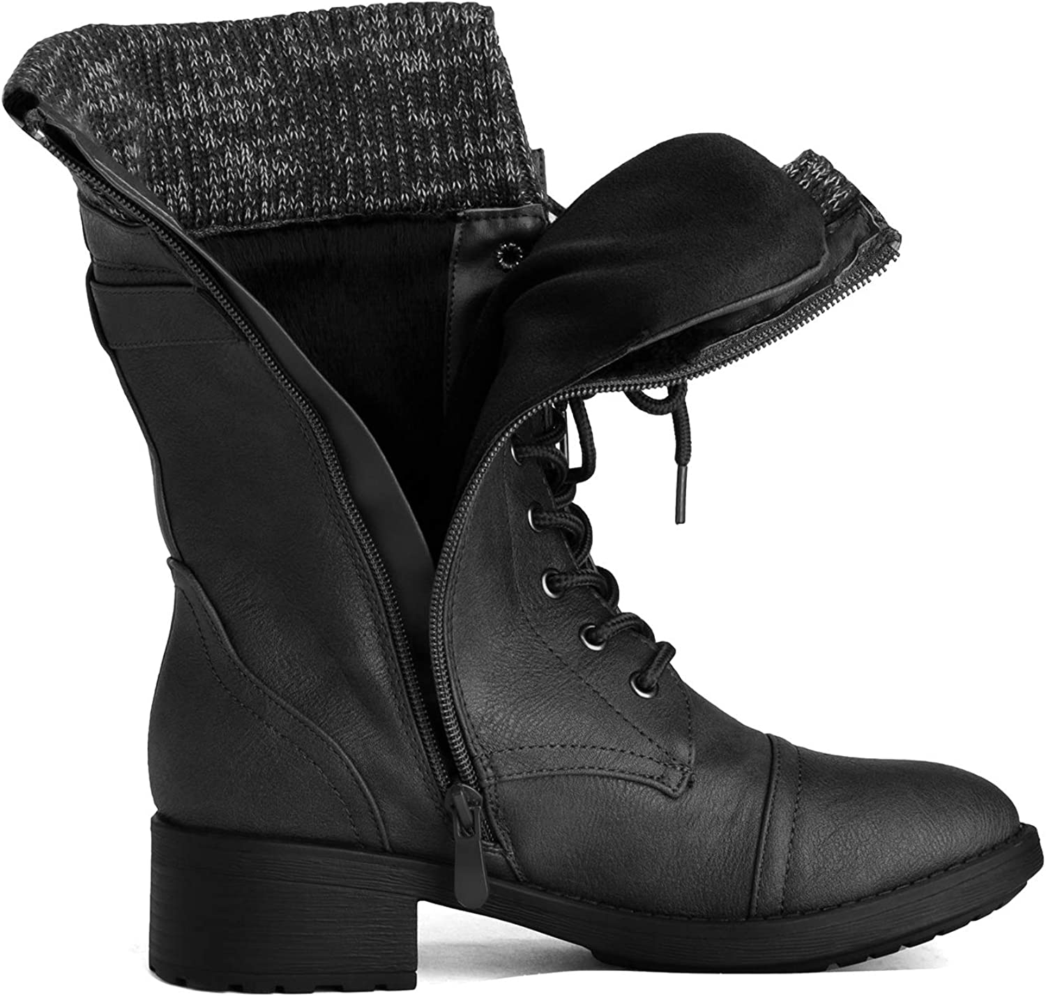 DREAM PAIRS Women's Winter Lace up Mid Calf Combat Riding Military Boots