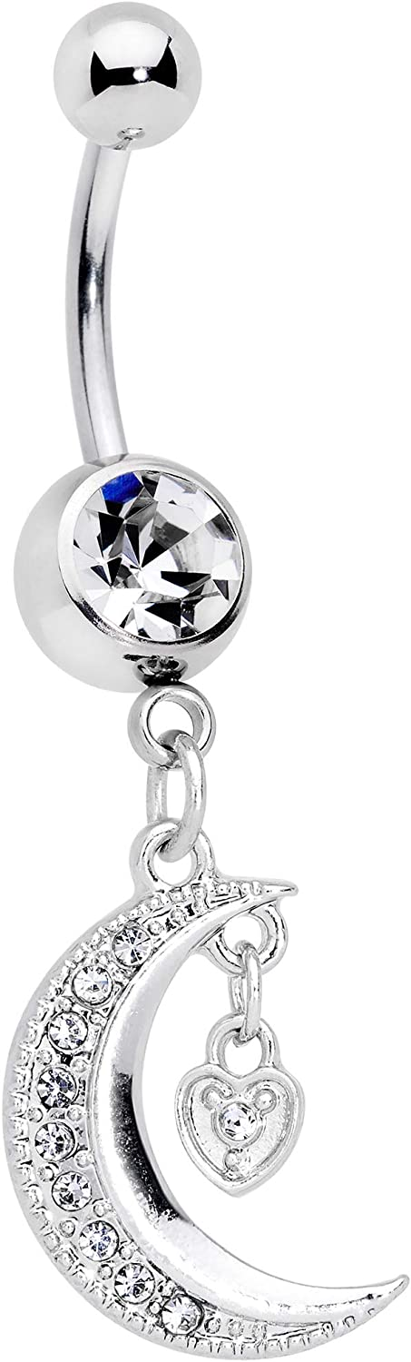 Body Candy Womens 14G Steel Navel Ring Piercing Heart Lock Moon Dangle Belly Button Ring