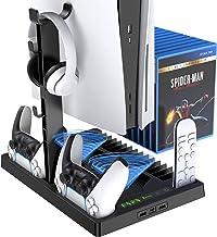 Benazcap è Adatto per Playstation 5 Versione Digitale 5 in 1 Supporto Verticale, Ventola di Raffreddamento con Porta Caric...