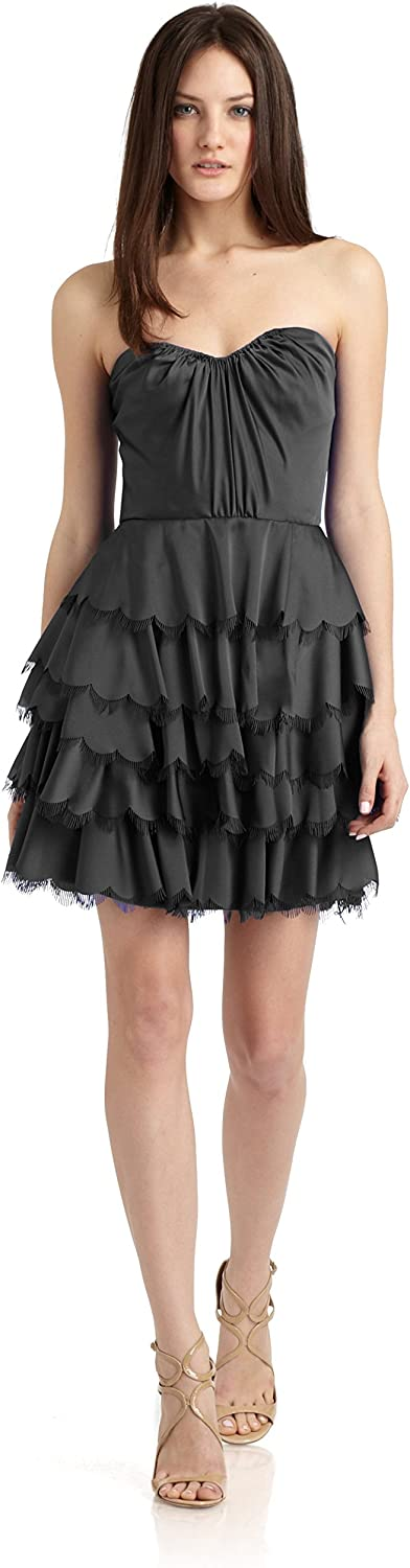 Rebecca Taylor Satin Tiered Eyelash Bustier Strapless Party Dress