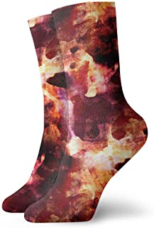 Vintage Watercolor Red Yellow Pattern Socks Colorful Cool Sport Athletic Calcetines for Men & Women
