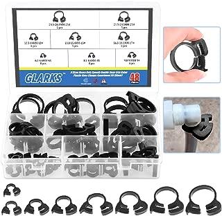 Glarks 48Pcs 8 Size Heavy Duty Black Double Gripping Nylon Hose Clamps Set, 6.6-27.2mm Plastic Snap Ratcheting Clamps Assortment Kit (Black 48Pcs)