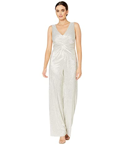 Adrianna Papell Wrapped Knit Metallic Jumpsuit (White/Gold) Women