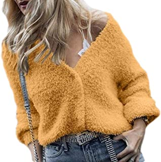 Women Button Down Knit Cardigans Fuzzy Fleece Sweater Coats