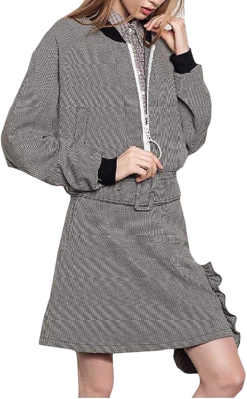 MacondooCA Women's Houndstooth Workout Coat Loose Baseball Collar Jackets