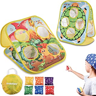Rabosky Bean Bag Toss Game Toy for Toddlers 3 4 5, Double Sided Cornhole Board, Dinosaur & Turtle Themes, 6 Colorful Beanbags, Collapsible Outdoor Games for Kids, Best Gift for Kids and Family