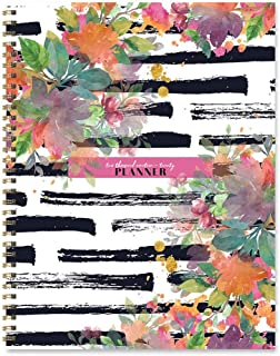 Black Striped Watercolor Floral Large Weekly Monthly Planner: July 2019 - June 2020 (Academic School Year, Student Planner)