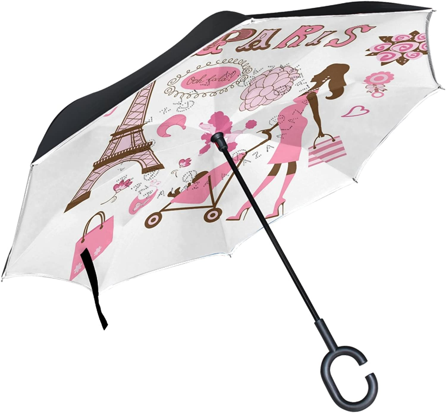 ALAZA Paris Eiffel Tower Hearts Floral Mom Baby Ingreened Umbrella Double Layer Windproof Reverse Folding Umbrella for Car With C-Shape Handle