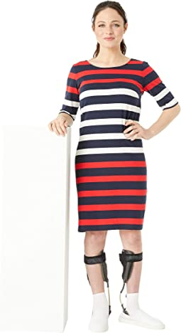 Bold Stripe Dress with Magnetic Buttons