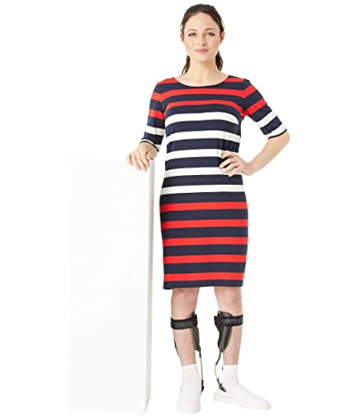 Tommy Hilfiger Adaptive Bold Stripe Dress with Magnetic Buttons (Masters Navy/Racing Red/Snow White) Women