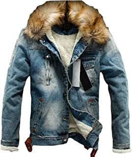 Mens Autumn Winter Sherpa Lined Thick Hooded Denim Parka Coat Jacket